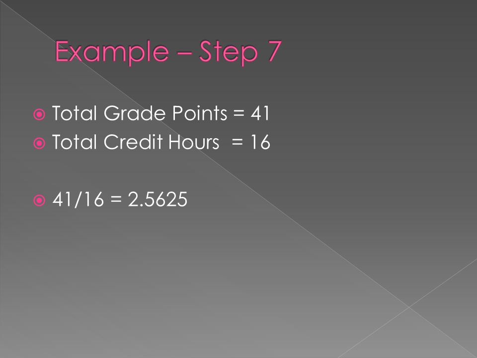  Total Grade Points = 41  Total Credit Hours = 16  41/16 = 2.5625