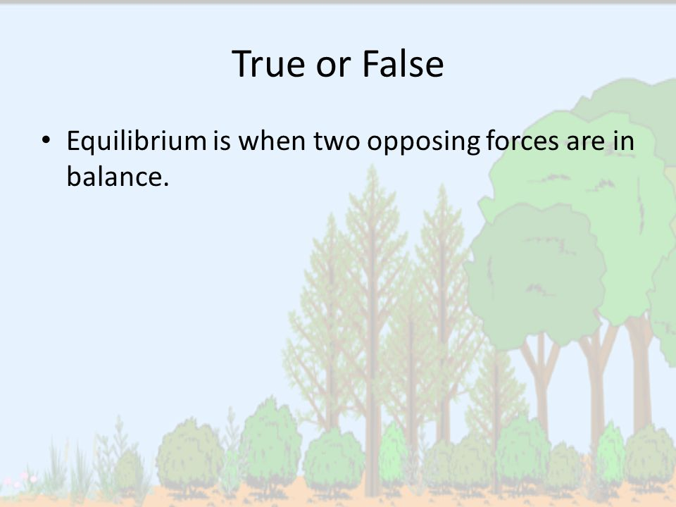 True or False Equilibrium is when two opposing forces are in balance.