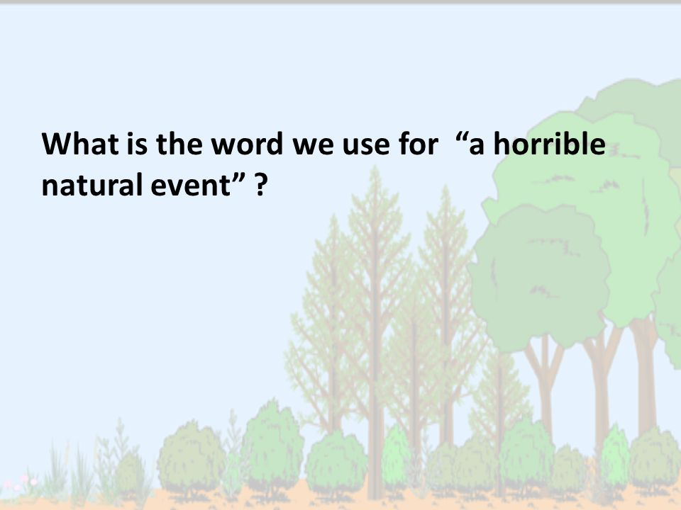 What is the word we use for a horrible natural event