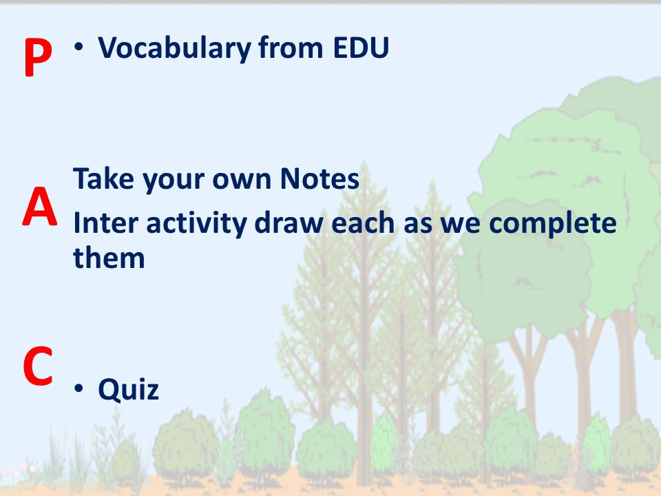 Vocabulary from EDU Take your own Notes Inter activity draw each as we complete them Quiz P A C