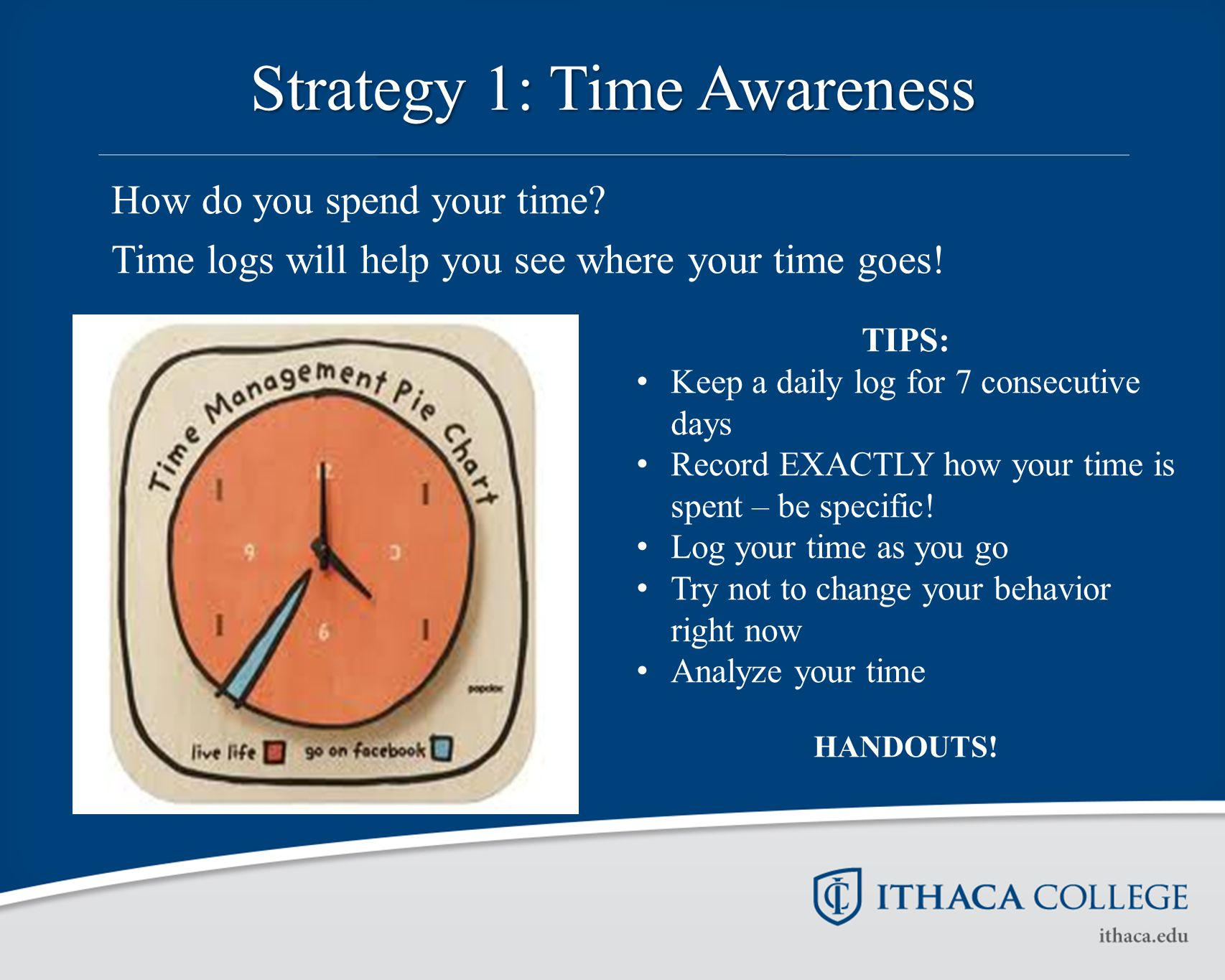Strategy 1: Time Awareness How do you spend your time.