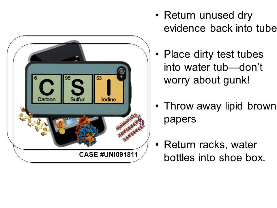 CASE #UNI091811 Return unused dry evidence back into tube Place dirty test tubes into water tub—don't worry about gunk.
