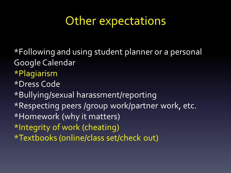 Other expectations *Following and using student planner or a personal Google Calendar *Plagiarism *Dress Code *Bullying/sexual harassment/reporting *Respecting peers /group work/partner work, etc.