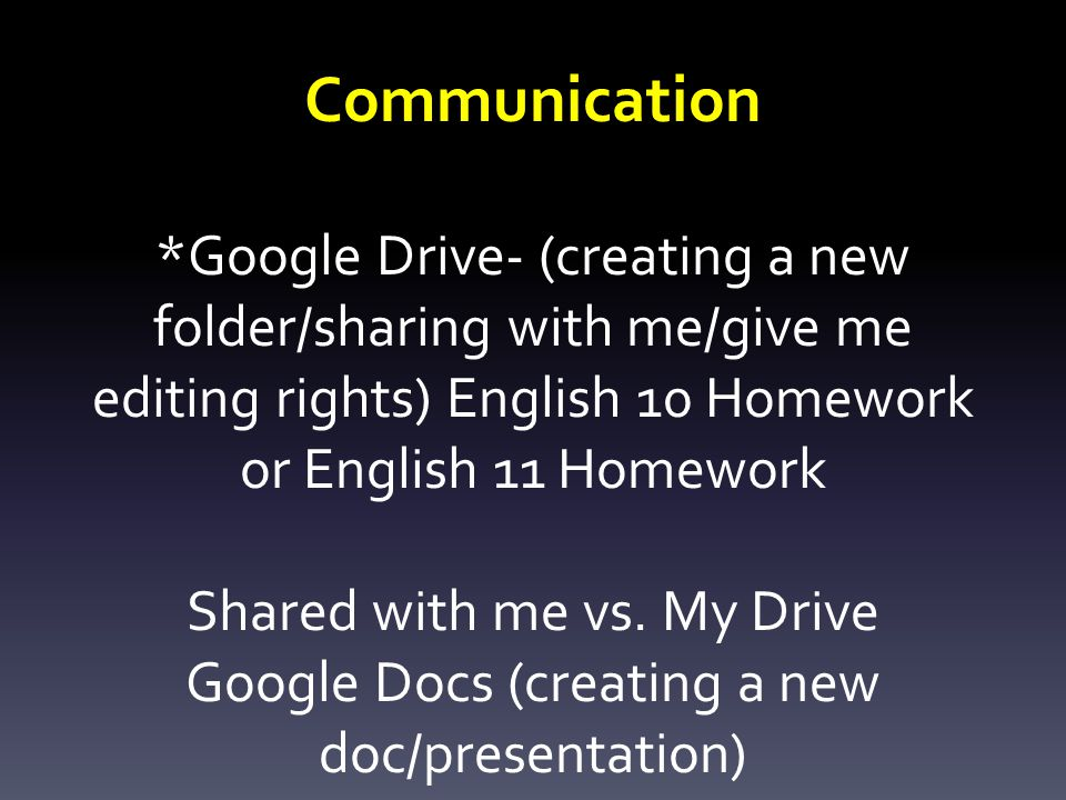 Communication *Google Drive- (creating a new folder/sharing with me/give me editing rights) English 10 Homework or English 11 Homework Shared with me vs.