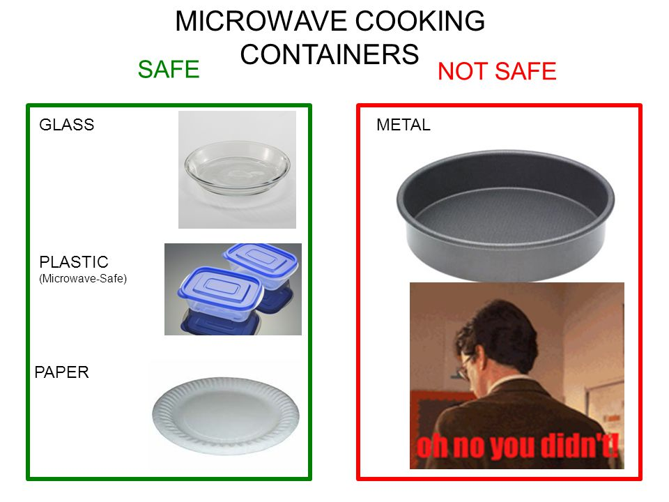 SAFE NOT SAFE MICROWAVE COOKING CONTAINERS GLASS PLASTIC (Microwave-Safe) PAPER METAL