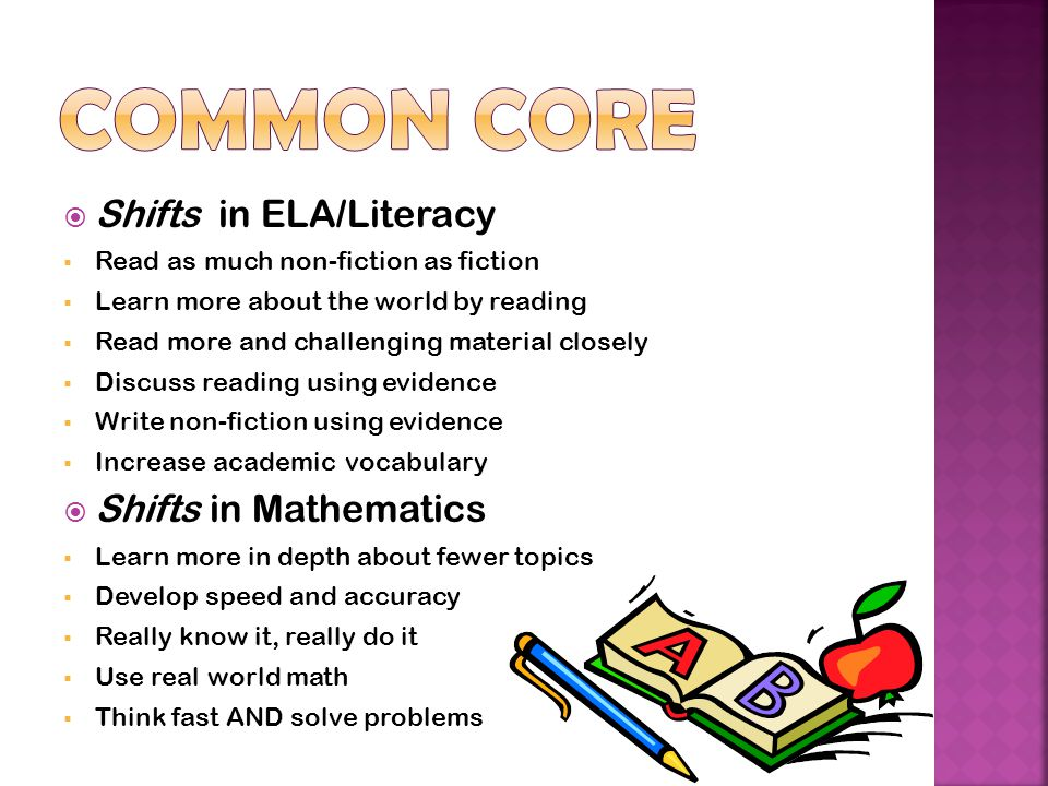  Shifts in ELA/Literacy  Read as much non-fiction as fiction  Learn more about the world by reading  Read more and challenging material closely  Discuss reading using evidence  Write non-fiction using evidence  Increase academic vocabulary  Shifts in Mathematics  Learn more in depth about fewer topics  Develop speed and accuracy  Really know it, really do it  Use real world math  Think fast AND solve problems