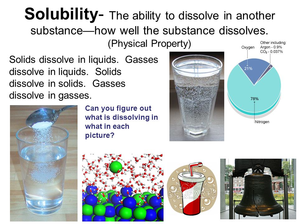 Solubility- The ability to dissolve in another substance—how well the substance dissolves.