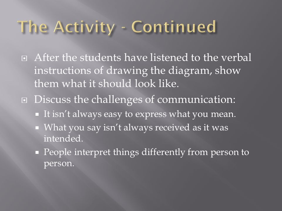 After the students have listened to the verbal instructions of drawing the diagram, show them what it should look like.