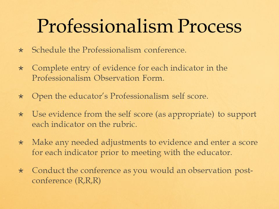 Professionalism Process  Schedule the Professionalism conference.