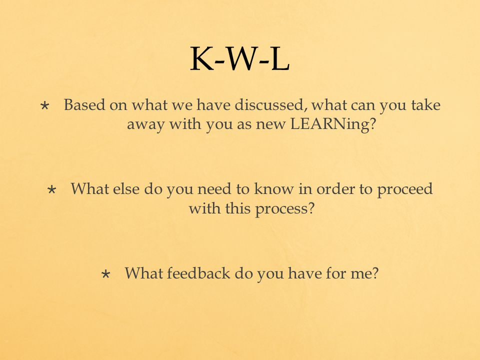 K-W-L  Based on what we have discussed, what can you take away with you as new LEARNing.
