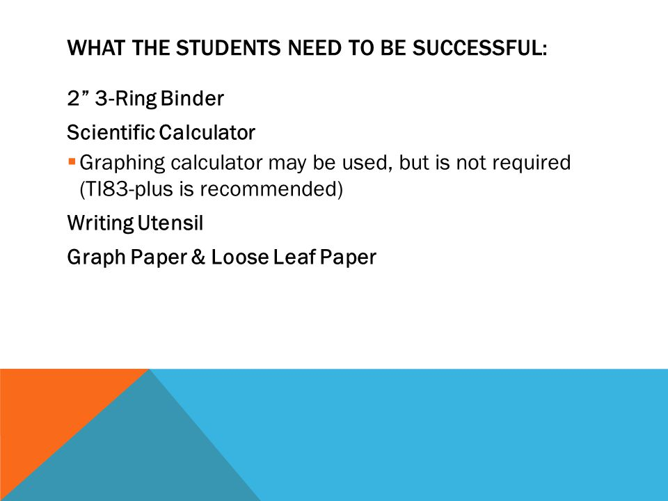 """WHAT THE STUDENTS NEED TO BE SUCCESSFUL: 2"""" 3-Ring Binder Scientific Calculator  Graphing calculator may be used, but is not required (TI83-plus is r"""