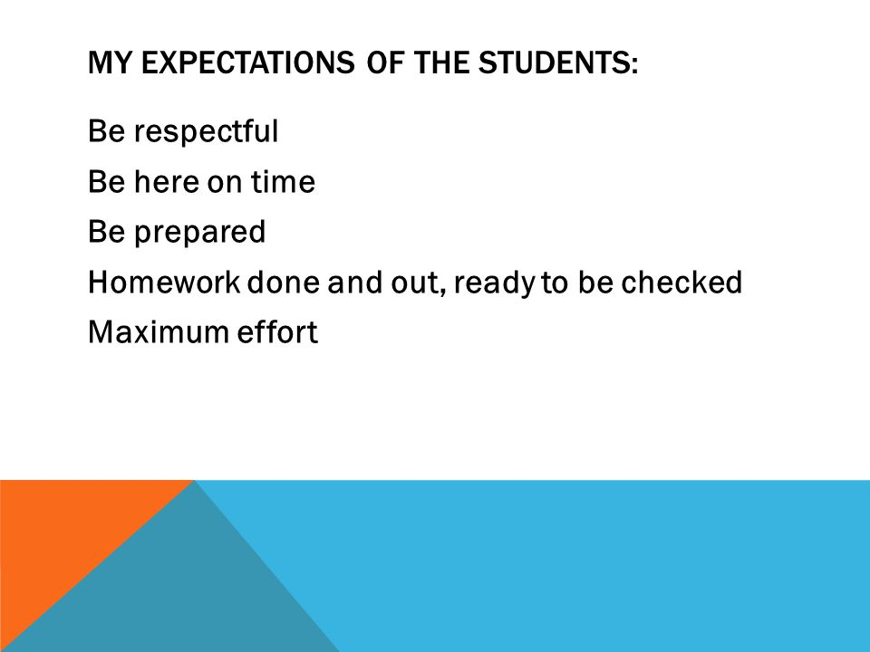 MY EXPECTATIONS OF THE STUDENTS: Be respectful Be here on time Be prepared Homework done and out, ready to be checked Maximum effort