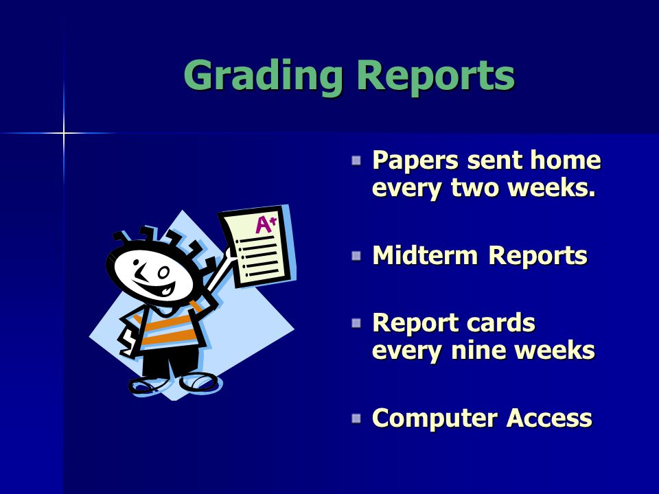 Grading Reports Papers sent home every two weeks.