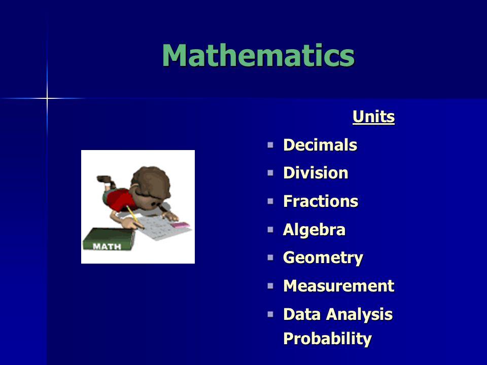 Mathematics UnitsDecimalsDivisionFractionsAlgebraGeometryMeasurement Data Analysis Probability