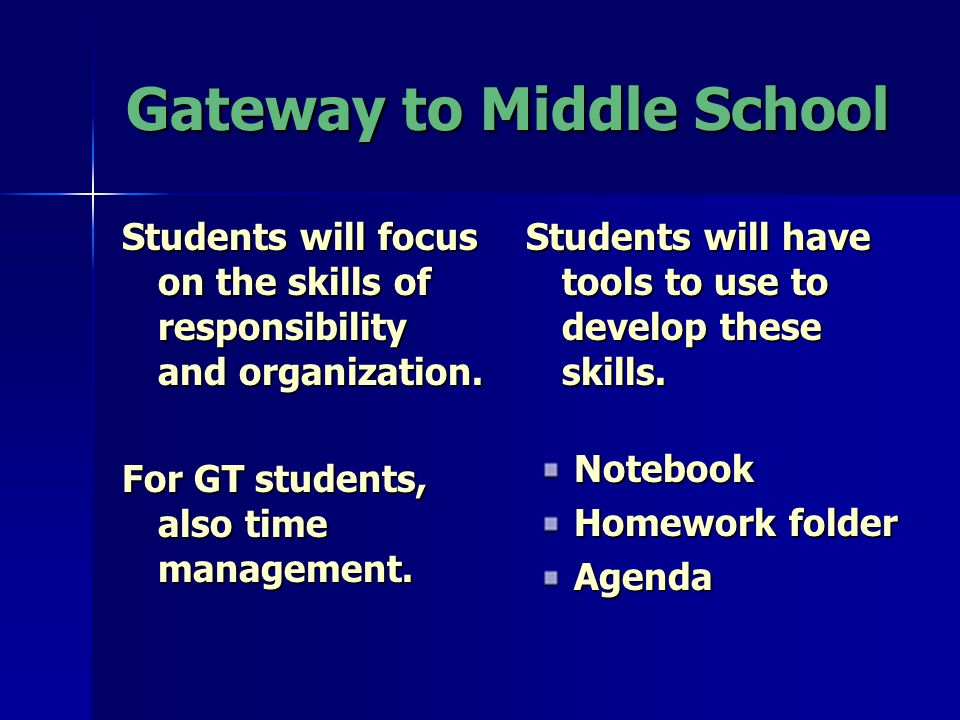 Gateway to Middle School Students will have tools to use to develop these skills.