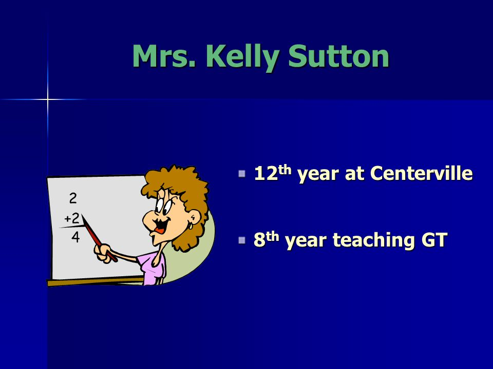Mrs. Kelly Sutton 12 th year at Centerville 8 th year teaching GT