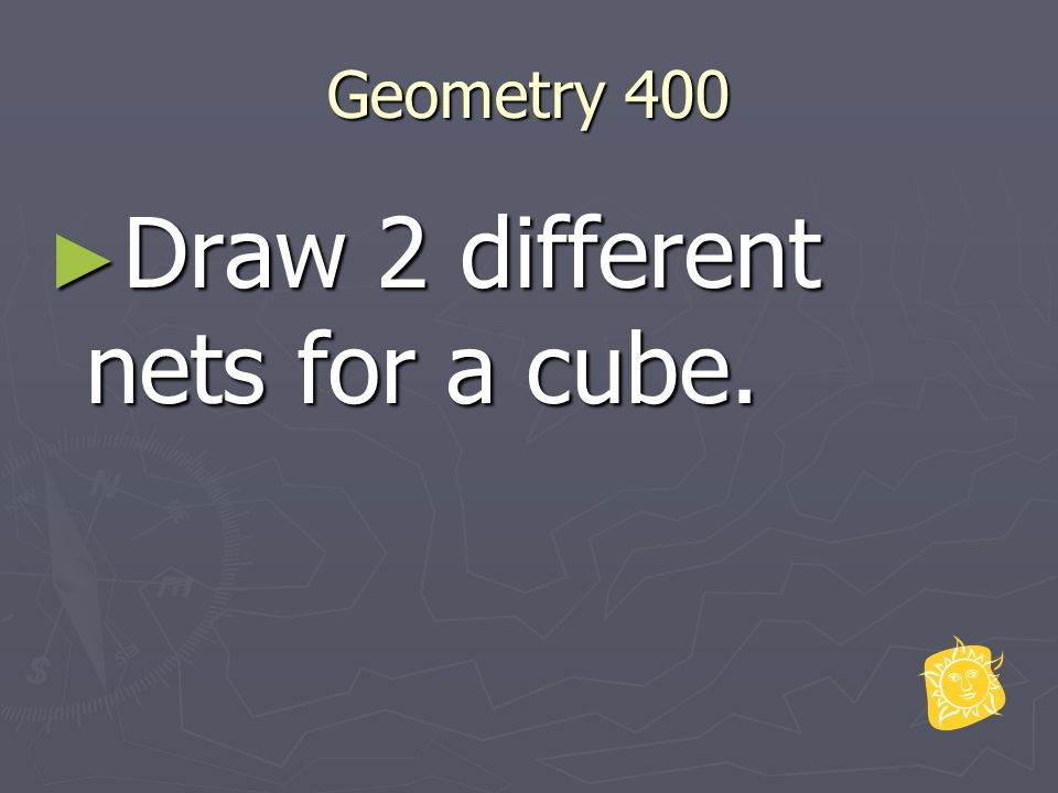 Geometry 400 ► Draw 2 different nets for a cube.