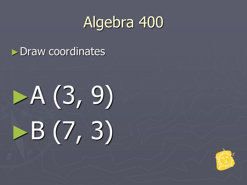 Algebra 400 ► Draw coordinates ► A (3, 9) ► B (7, 3)