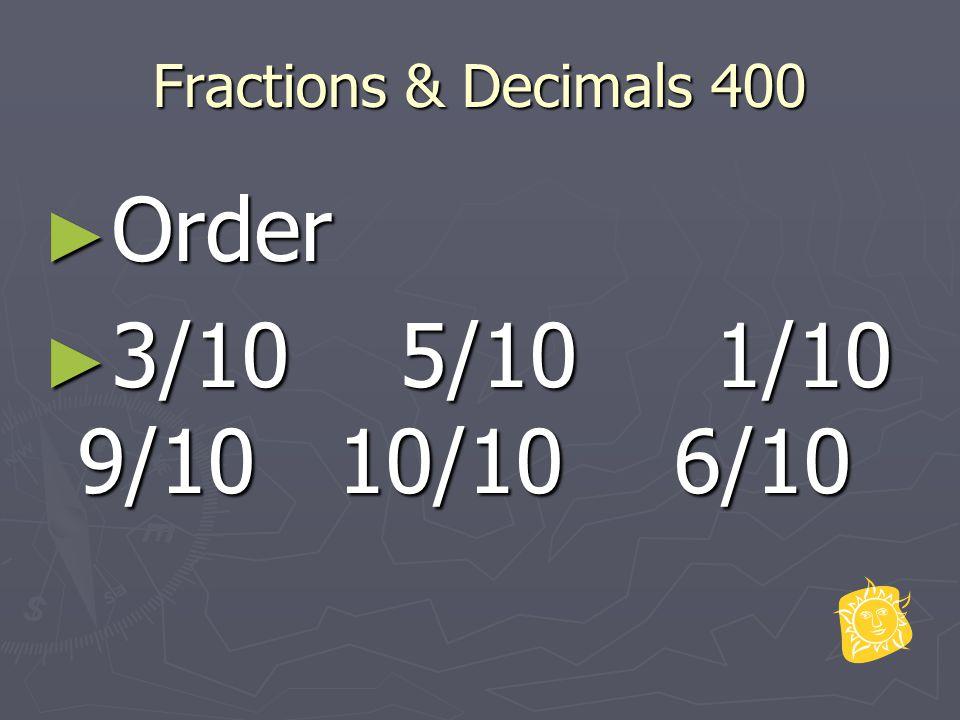 Fractions & Decimals 400 ► Order ► 3/10 5/10 1/10 9/10 10/10 6/10