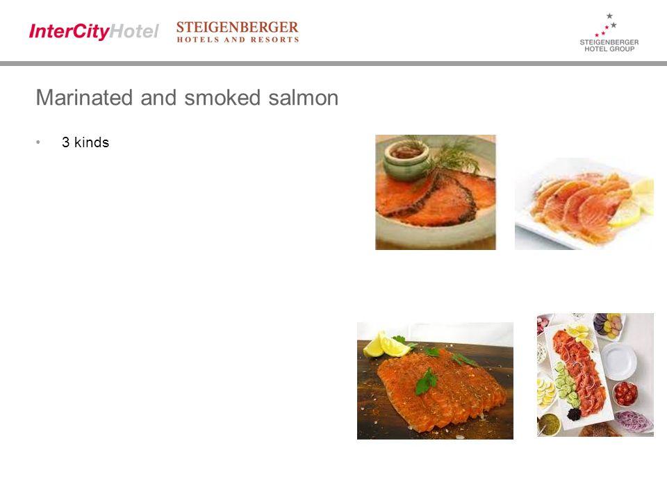 Marinated and smoked salmon 3 kinds
