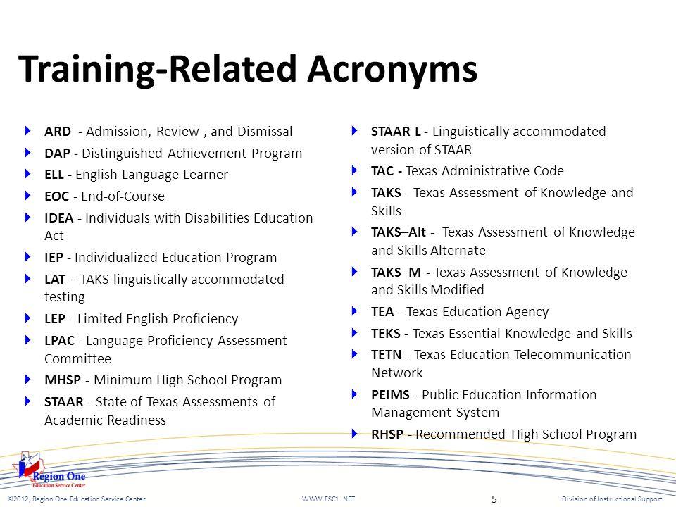 ©2012, Region One Education Service Center WWW.ESC1.
