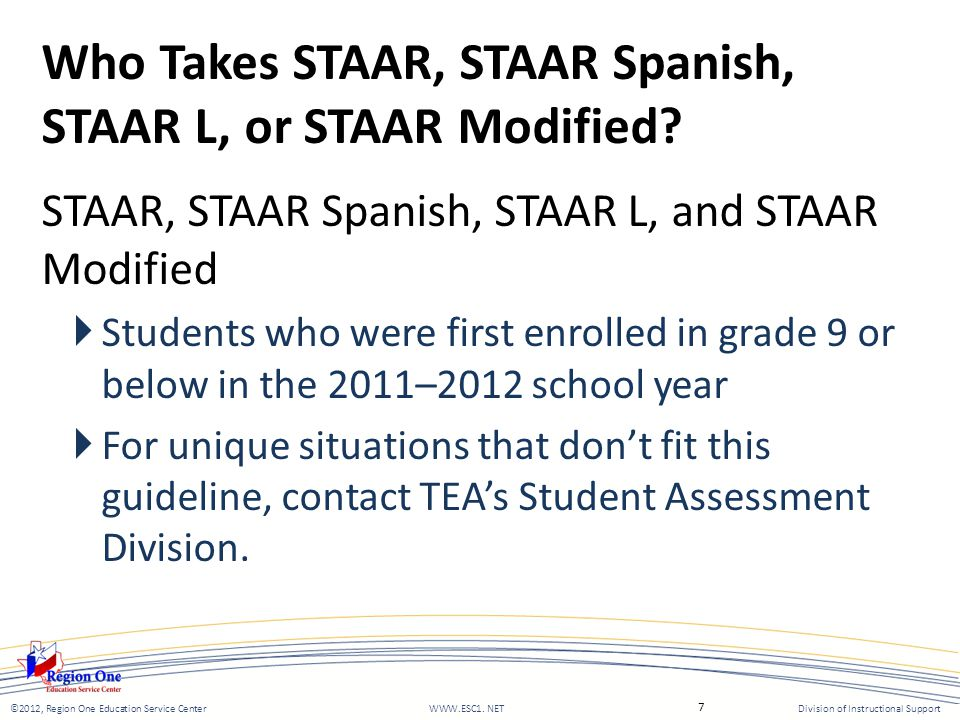 Who Takes STAAR, STAAR Spanish, STAAR L, or STAAR Modified.