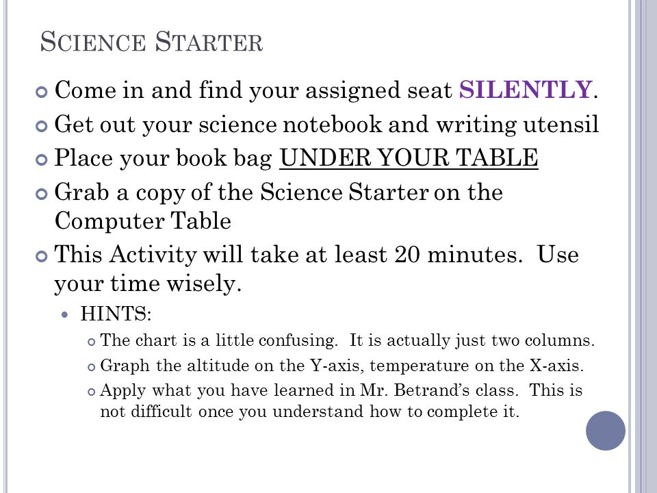 S CIENCE S TARTER Come in and find your assigned seat SILENTLY.