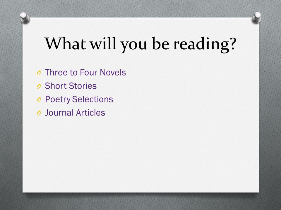 What will you be reading? O Three to Four Novels O Short Stories O Poetry Selections O Journal Articles