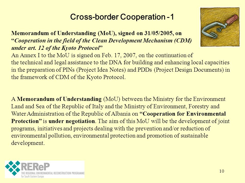 """10 Cross-border Cooperation -1 Memorandum of Understanding (MoU), signed on 31/05/2005, on """"Cooperation in the field of the Clean Development Mechanis"""