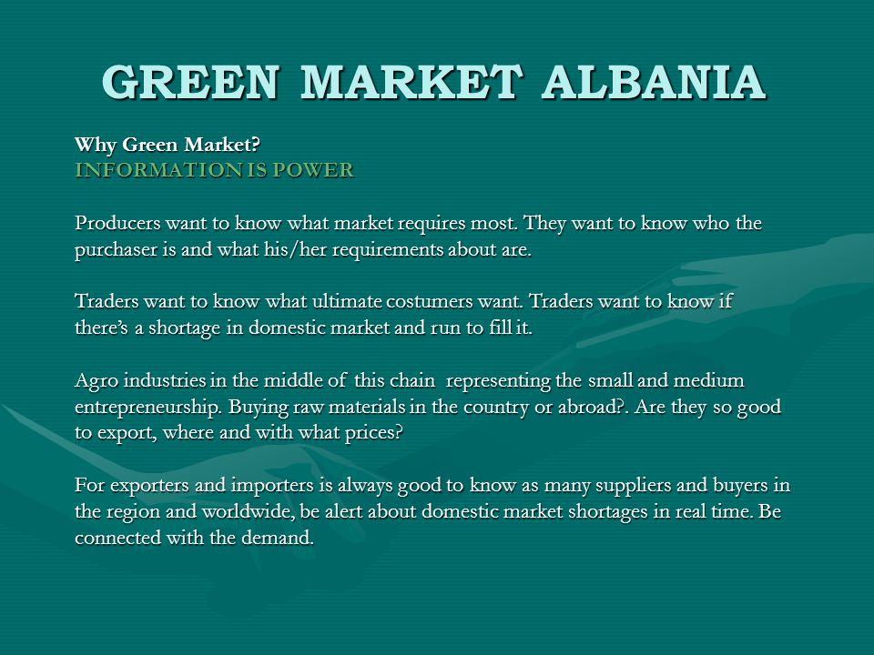 GREEN MARKET ALBANIA Why Green Market.