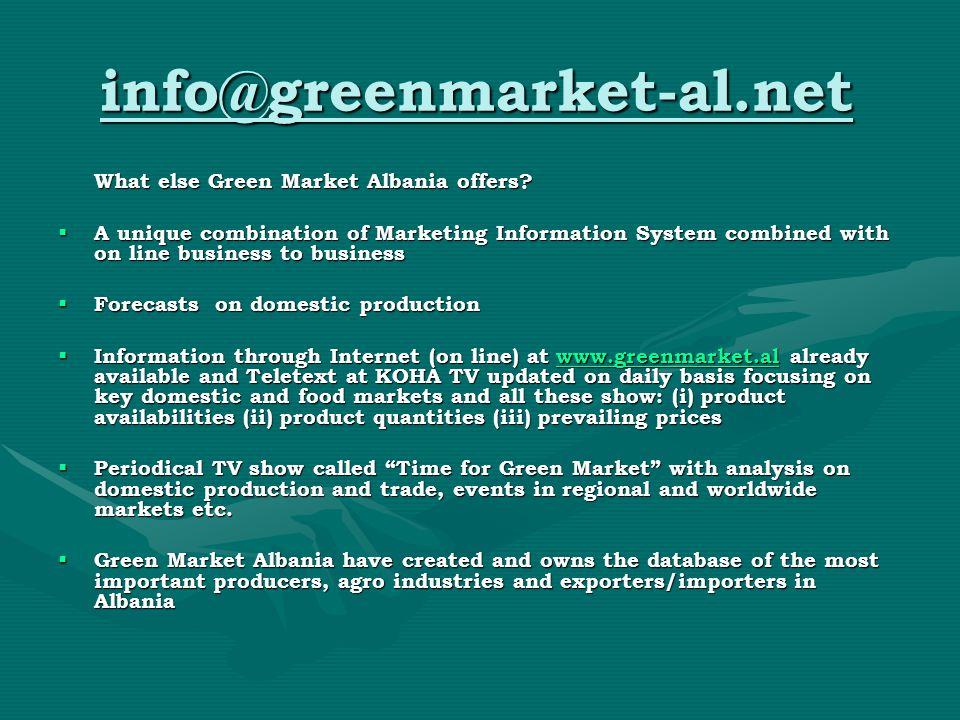 info@greenmarket-al.net What else Green Market Albania offers.