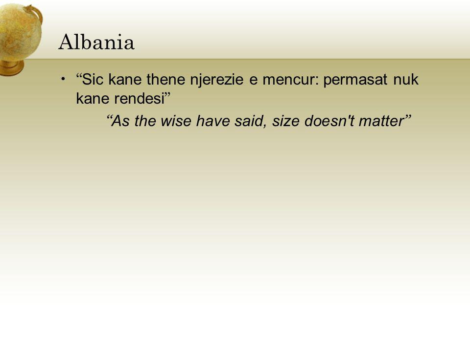 Albania Sic kane thene njerezie e mencur: permasat nuk kane rendesi As the wise have said, size doesn t matter