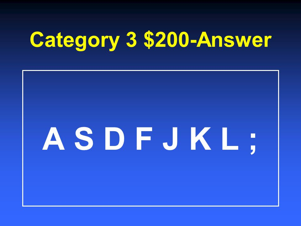 Category 3 $1000 State five different words you can spell ONLY using the home row keys.