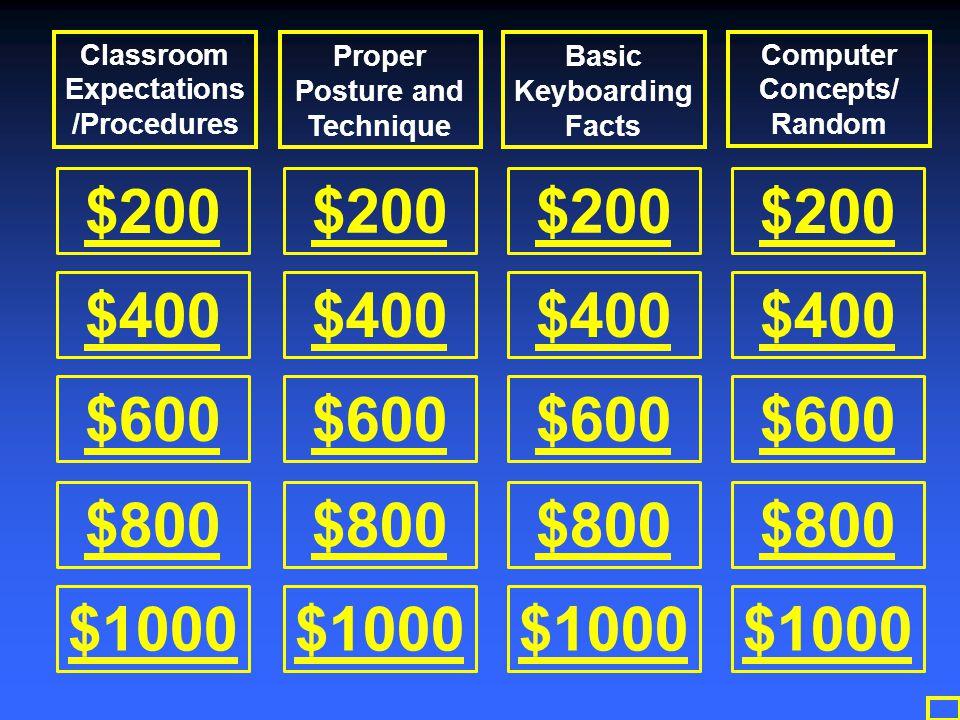 $200 $400 $600 $800 $1000 $200 $400 $600 $800 $1000 $200 $400 $600 $800 $1000 $200 $400 $600 $800 $1000 Classroom Expectations /Procedures Proper Post