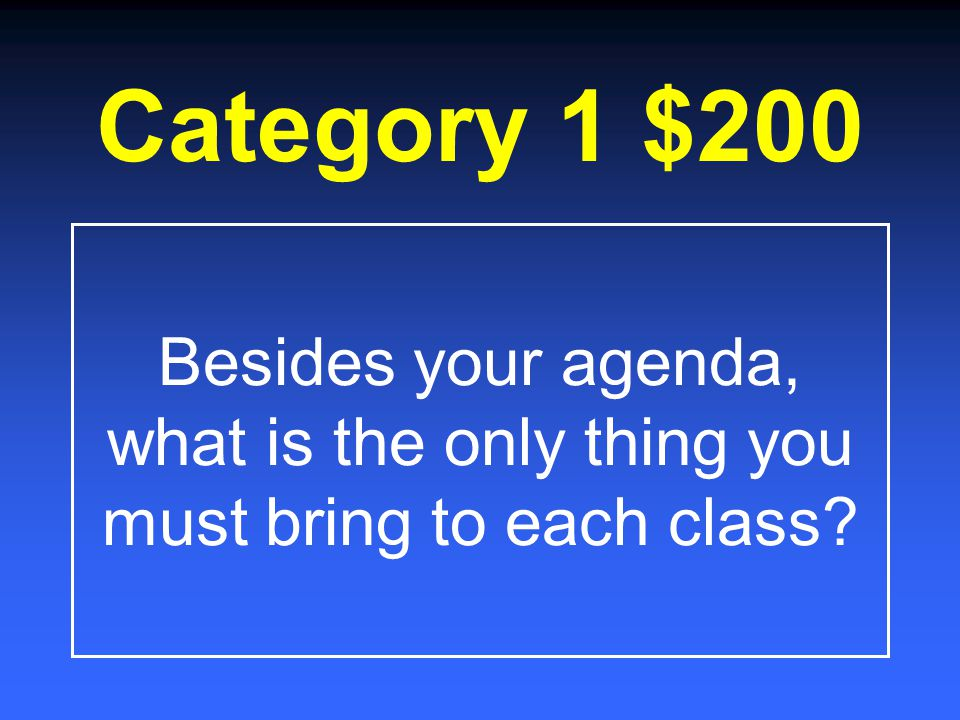 Classroom Expectations /Procedures Proper Posture and Technique Basic Keyboarding Facts Computer Concepts/ Random $200 $400 $600 $800 $1000 $200 $400