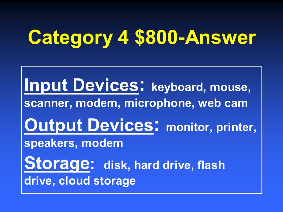 Category 4 $600-Answer Random Access Memory Temporary memory Read Only Memory Permanent memory