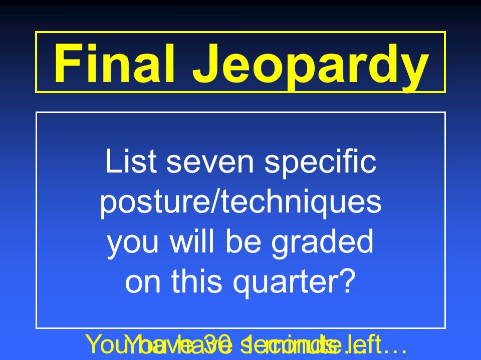 Final Jeopardy Category Keyboarding Posture and Technique