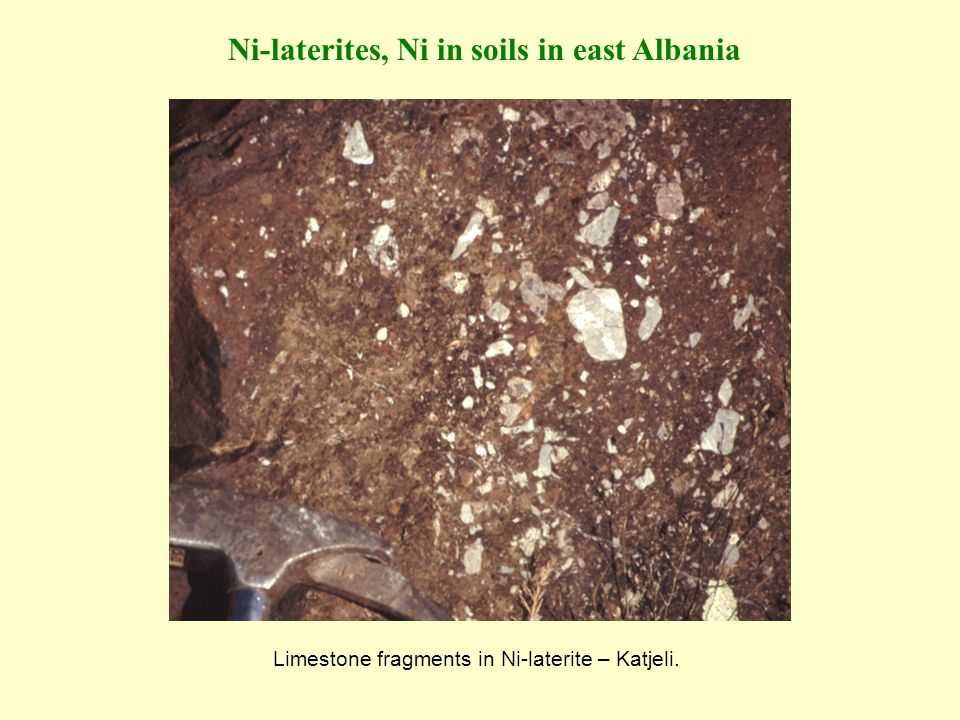 Ni-laterites, Ni in soils in east Albania Limestone fragments in Ni-laterite – Katjeli.