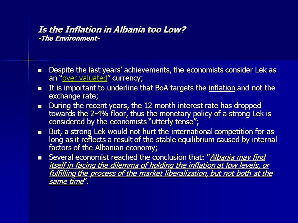 """Is the Inflation in Albania too Low? -The Environment- Despite the last years' achievements, the economists consider Lek as an """"over valuated"""" currenc"""