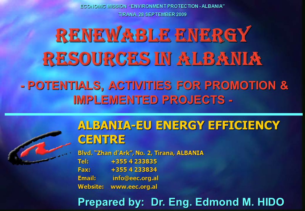 32 RENEWABLE ENERGY RESOURCES IN ALBANIA 4.2 Seminars and Conferences organized by the Centre l The Use of Ecological Sources of Energy - held on 1996, l Albanian Energy Policy for a Common Future - held on 1996, l Active and Passive Solar Energy Utilisation - a Necessity and Need for Albania - held on 1999, l Albanian Energy Policy for a Sustainable Economic Development of the Country - held on 2000, l Media Training on Use of Alternative Energy Sources- held on 2001, l Energy Payment, Efficient Use of Energy, Alternative Energies Utilisation - A Necessity for Overcoming the Energy Crisis in Albania - held on 2001, l The Use of Solar Energy and Photovoltaic Systems as an Alternative Source of Energy - held on 2003.