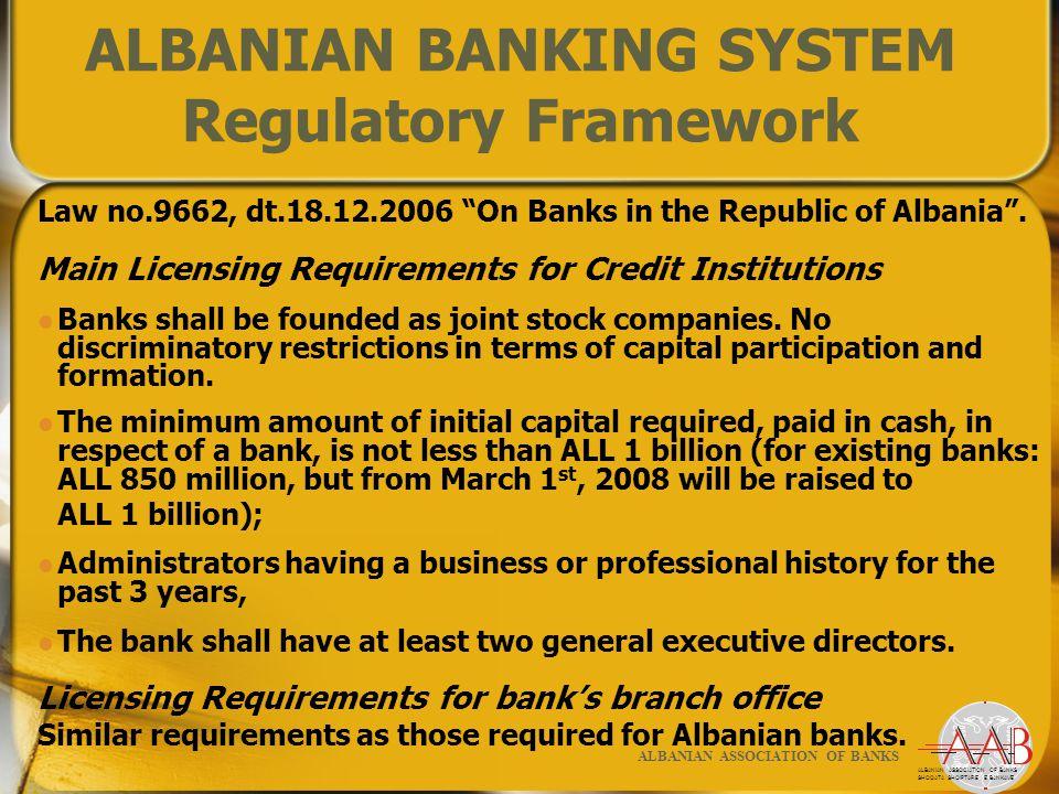 26 ALBANIAN ASSOCIATION OF BANKS SHOQATA SHQIPTARE E BANKAVE ALBANIAN ASSOCIATION OF BANKS ALBANIAN BANKING SYSTEM Regulatory Framework Law no.9662, dt.18.12.2006 On Banks in the Republic of Albania .