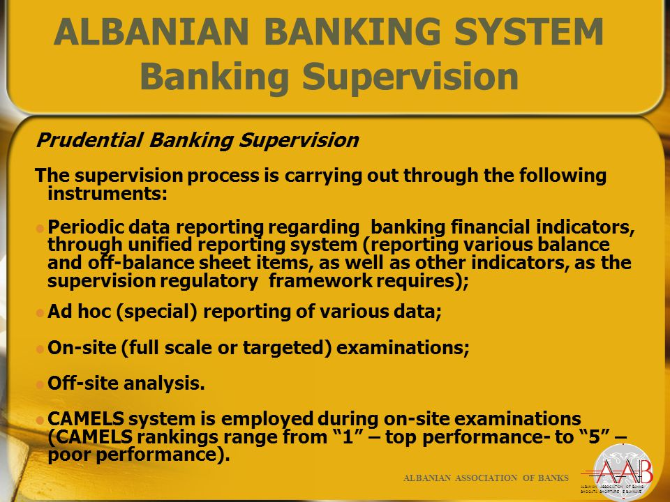 Prudential Banking Supervision The supervision process is carrying out through the following instruments: Periodic data reporting regarding banking financial indicators, through unified reporting system (reporting various balance and off-balance sheet items, as well as other indicators, as the supervision regulatory framework requires); Ad hoc (special) reporting of various data; On-site (full scale or targeted) examinations; Off-site analysis.