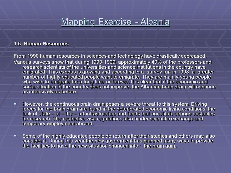 Mapping Exercise - Albania 1.6.