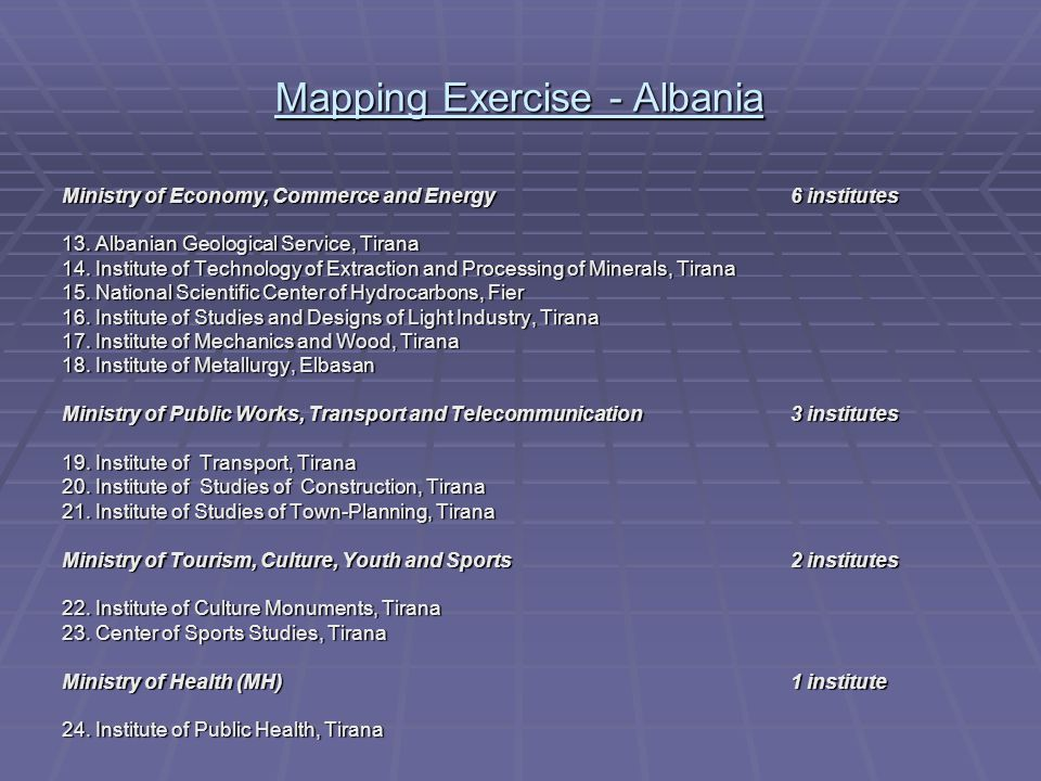 Mapping Exercise - Albania Ministry of Economy, Commerce and Energy 6 institutes 13.