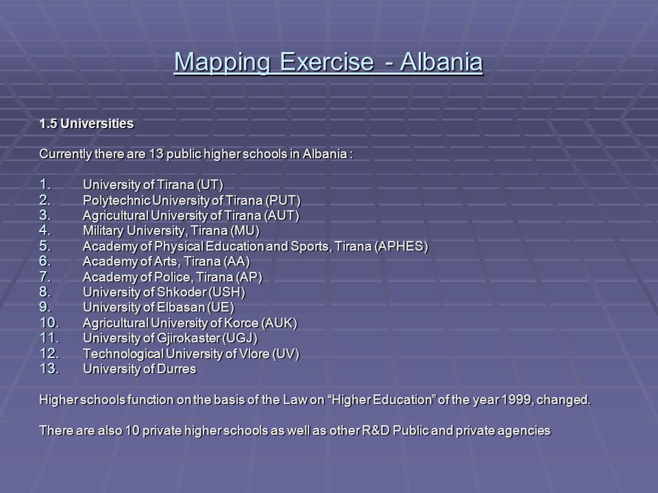 Mapping Exercise - Albania Administrative bodies Political authorities Intermediary Organizations & Funding agencies Parliament Government Ministry of Education & Science ç 13 National universities: 48 Faculties Agency of Hydrocarbures Incubators of Agricultural Technology Centre for Efficiency Energy Agency of Accreditation of High Education General Directorate of Standards Directorate of the Marks & Patents Office of Author Rights Chamber of Commerce & Industry Foreign Agencies for support of Technological & Economical Development: UNDP, World Bank, USAID, UNESCO, UNICEF, WHO, GTZ,…… Agency of Calibration Council of Scientific Policy and Technology Development Academy of Sciences: 14 institutes Ministerial R&D institutes: 24 Agricultural Experimental Research Centers R&D infrastructure: - 8 Internet Providers and Academic Network - Gene Bank - S&T Libraries - Scientific Natural Museum - Botanic Park Center for the Energy Private sector- R&D Performers: Multinational Companies Small & Medium Enterprises 10 private universities