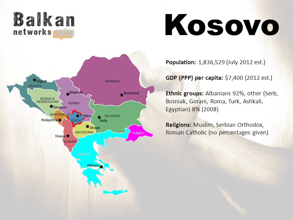 Kosovo Population: 1,836,529 (July 2012 est.) GDP (PPP) per capita: $7,400 (2012 est.) Ethnic groups: Albanians 92%, other (Serb, Bosniak, Gorani, Roma, Turk, Ashkali, Egyptian) 8% (2008) Religions: Muslim, Serbian Orthodox, Roman Catholic (no percentages given)