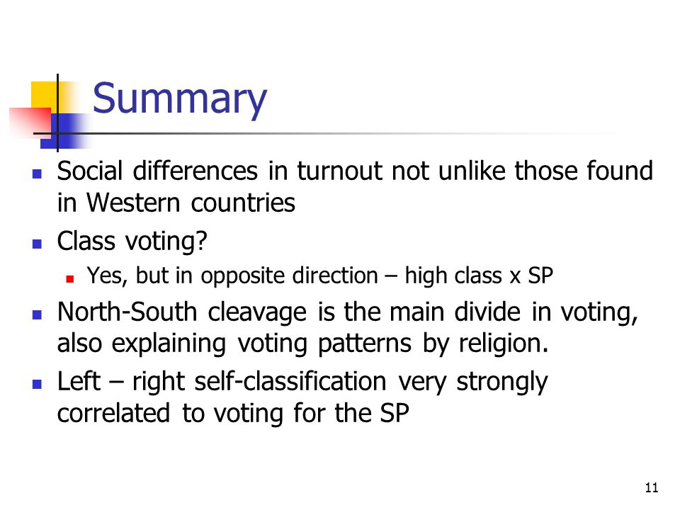 11 Summary Social differences in turnout not unlike those found in Western countries Class voting.