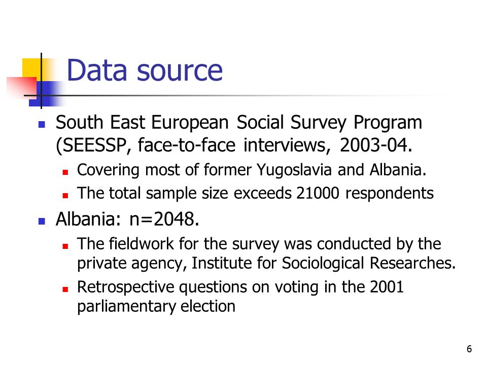 6 Data source South East European Social Survey Program (SEESSP, face-to-face interviews, 2003-04. Covering most of former Yugoslavia and Albania. The