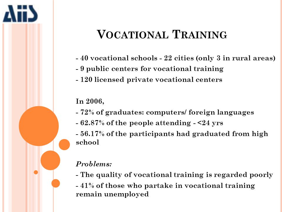 - 40 vocational schools - 22 cities (only 3 in rural areas) - 9 public centers for vocational training - 120 licensed private vocational centers In 20