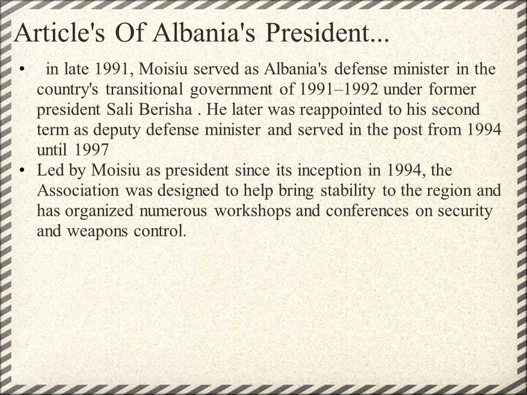 Article s Of Albania s President...